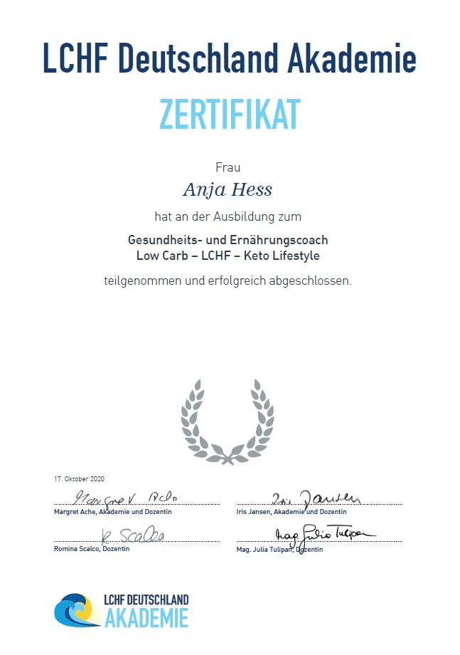 LCHF Deutschland Akademie Zertifikat Anja Hess